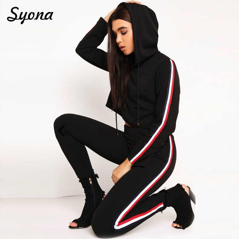 89efbe4d Для женщин 2 комплект из двух предметов Топ-туника сбоку в полоску спортивный  костюм спортивные