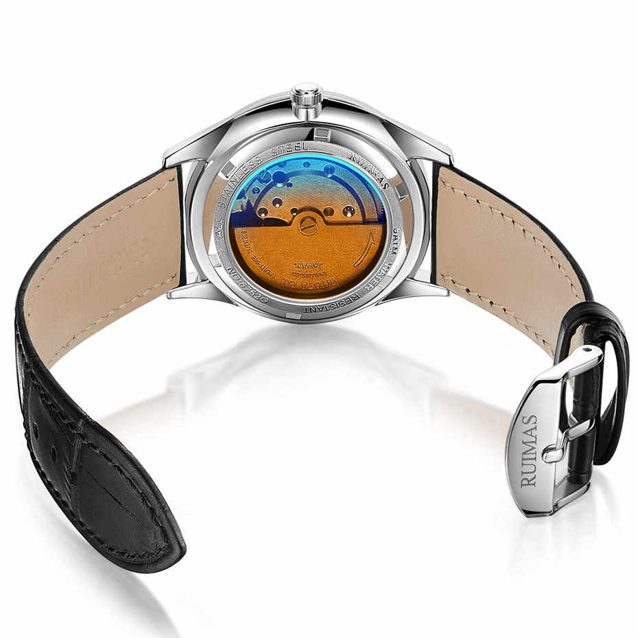 Pria Otomatis Sederhana Klasik Watch Leather Sapphire Glass Bisnis Mekanis Wrist Jam Tangan Pria Jam Ruimas Relojes Hombre