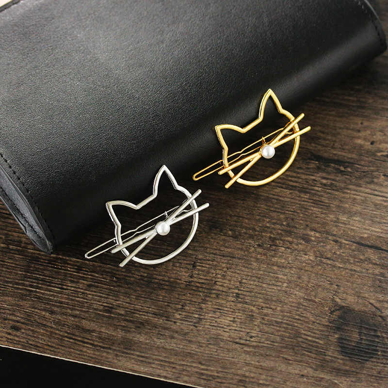 1 шт. Для женщин Обувь для девочек из металла Имитация-жемчужина милый кот губ заколки для волос Женские аксессуары для волос полированный животных заколка для волос как подарок
