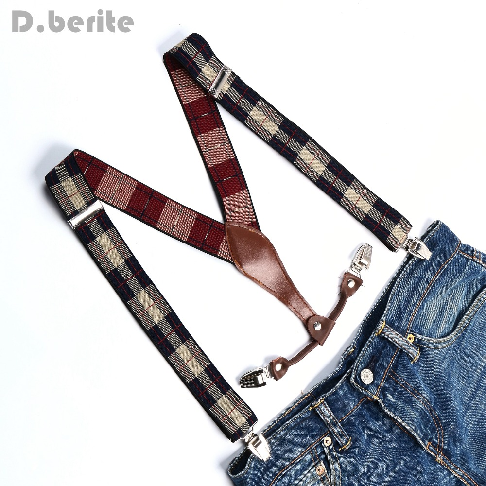 Men's Adjustable Clip On Elastic Suspenders Unisex Lattice Braces 3.5cm Width BD636