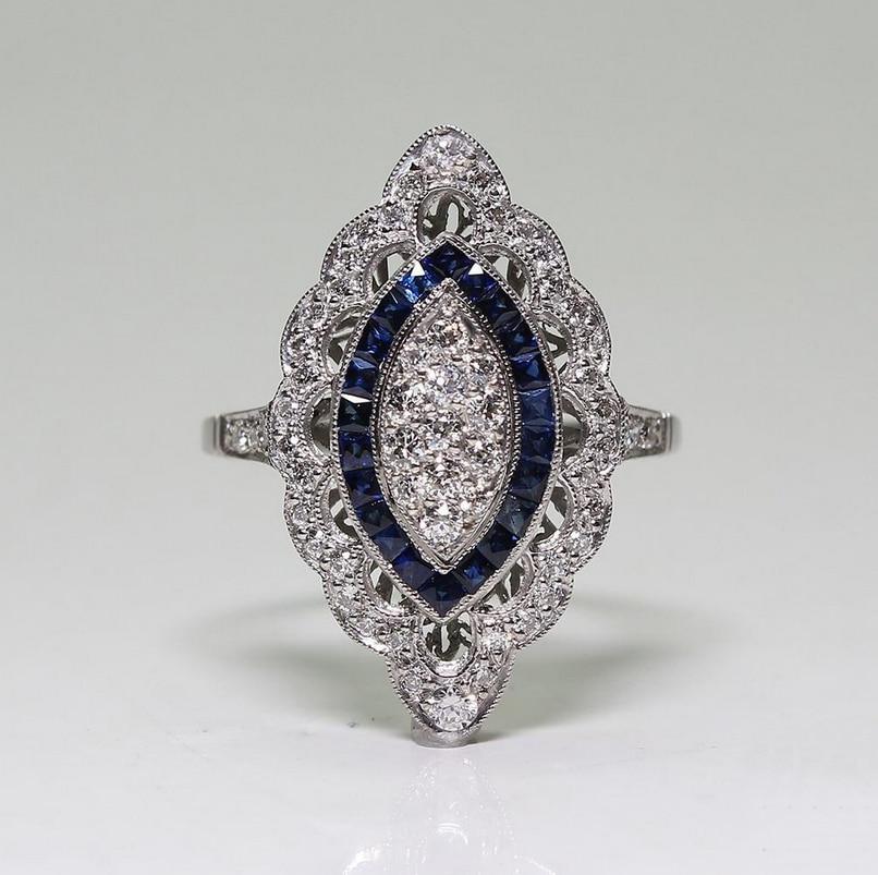 Винтажное модное ювелирное изделие из серебра 925 пробы, белое и голубое кольцо с цирконием, вечерние женские обручальные кольца для влюбленных, подарок SZ6-10