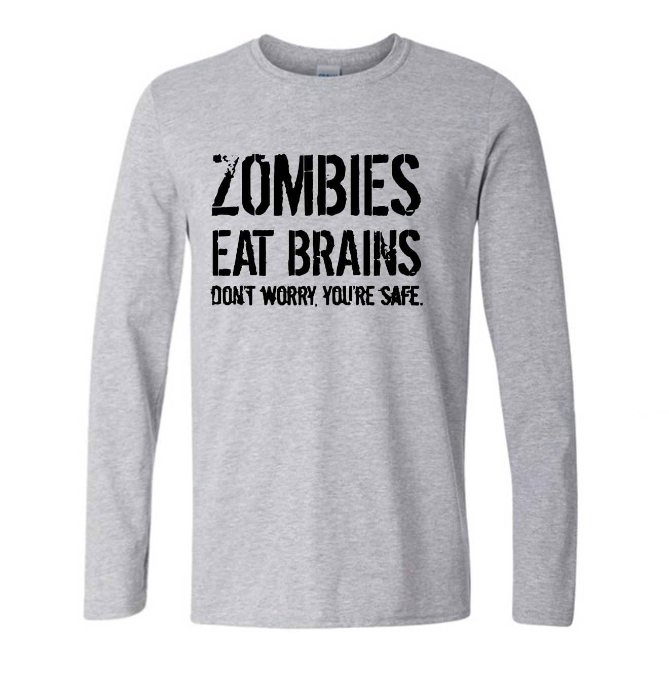 Mens Zombies Eat Brains So Youre Safe T Shirt Funny Zombie Shirt 2017 autumn new funny long sleeve t shirt brand cotton clothes