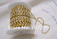 FREE SHIPPING--10yd 3mm A-Grade Rhinestone Gold Diamante Chain Craft wedding cake, wedding invitations Decorations