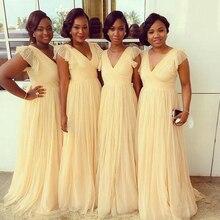 Formal Cap Sleeve V-Neck Pleat Bridesmaid Dresses 2016 Vestido Dama De Honra Long Bridesmaid Dress For Wedding Party