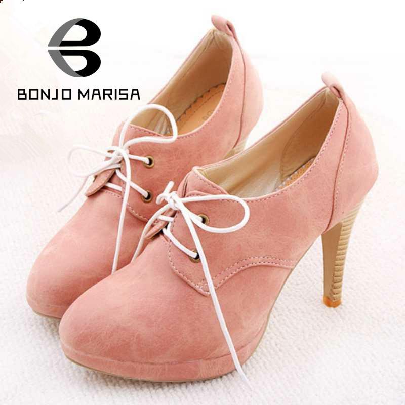ФОТО BONJOMARISA NEW ! Big Size 34-42 Sweety Lace Up Women High Heel Shoes High Heels & Beige,Pink,Black,Blue Platform Pumps HH278