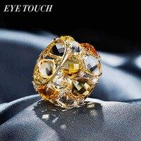 EYE TOUCH Luxury Vintage Ring Fashion Australia Rhinestone Jewelry Women Fashion Yellow Color Gold Jewelry Elegant