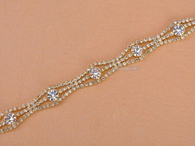 1 Yard Gold Rhinestone Trim Wedding Bridal Sew On Dress Applique Crystal  Sashes Belts 1.2cm 8e5629790a01