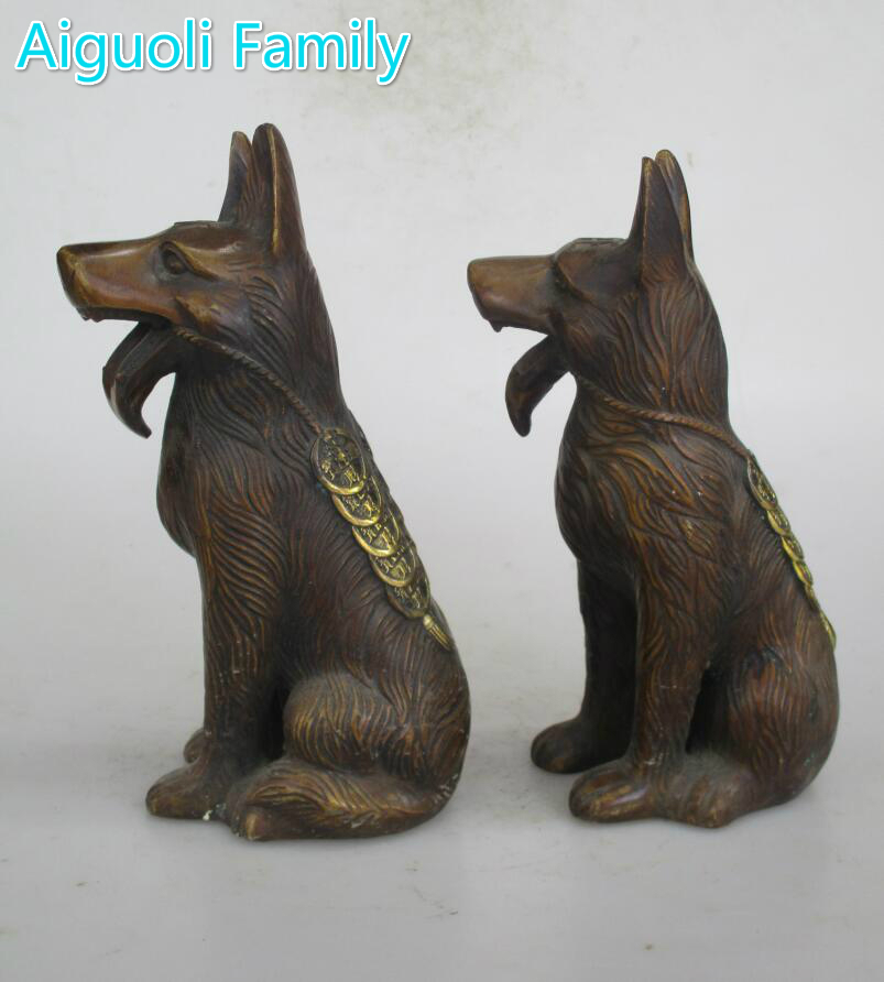 Antiques China Collectible Hand-carved Red Copper Dog Statue Desktop Ornament
