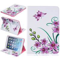 Flower Pattern New Arrival Color Mix PU Leather Flip Case For Apple iPad Mini 1 2 3 Cases W/Stand Cover For ipad Mini 3
