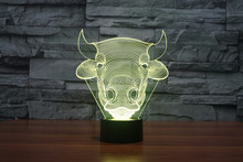 8pcs/lot 7 Color changing 3D Flashing Toro Acrylic LED Oxen Night Light with USB power multicolor Bulls table Lamp of LEDS