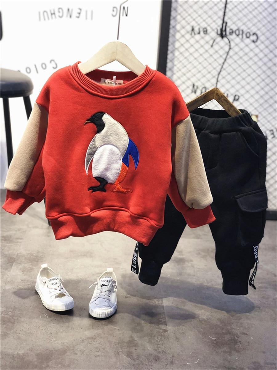368f69611 Primavera 2019 sudadera de lana gruesa para niñas Patchwork pingüino otoño  bebé niños Sudadera ...