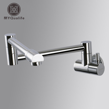 Wall Mount Single Handle Folding Stretch Kitchen Sink Faucet Cold Water One Hole Water Taps Chrome Finish