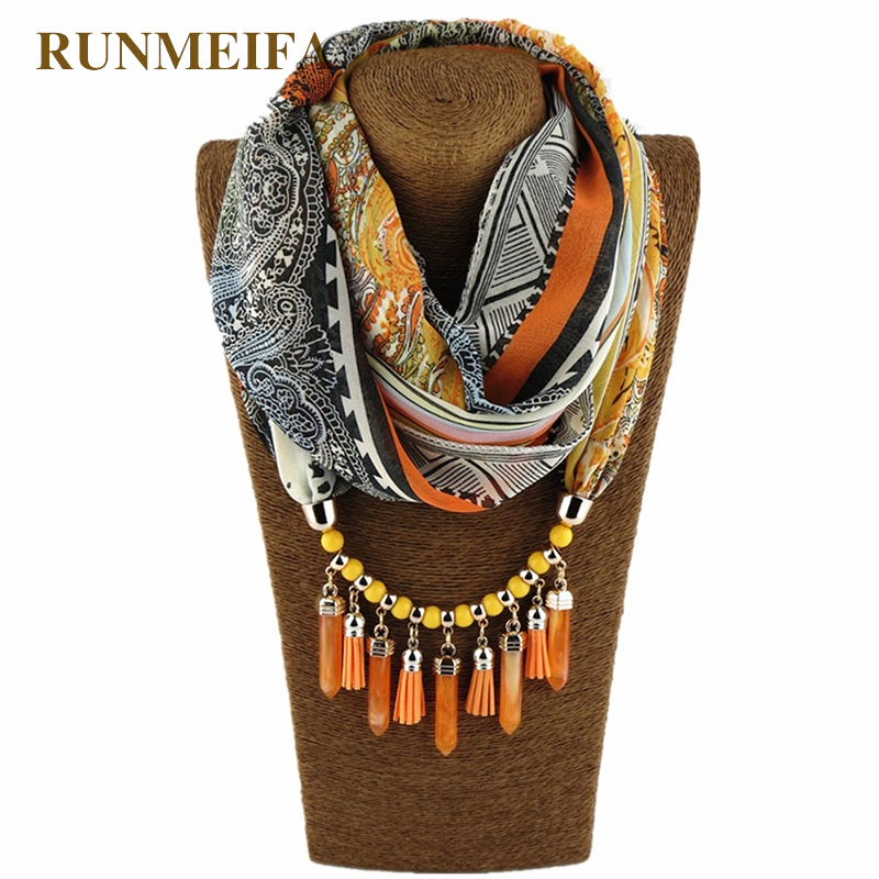 Spring Summer Style 180*70CM Warm Scarf Charm Shawl Water Drop Pendant Acrylic Necklace Wraps Jewelry 7 Colors Vintage Pashmina