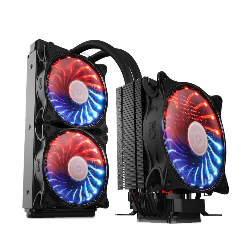 PCCOOLER Twin engine cpu radiator water cooler (air cooled+water cooled combination/ four heat pipe/three RGB fans)