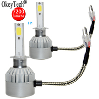 2pcs Set COB LED Car External Headlight H1 80W 7200LM CREE Chip 6000K White Automobile Fog
