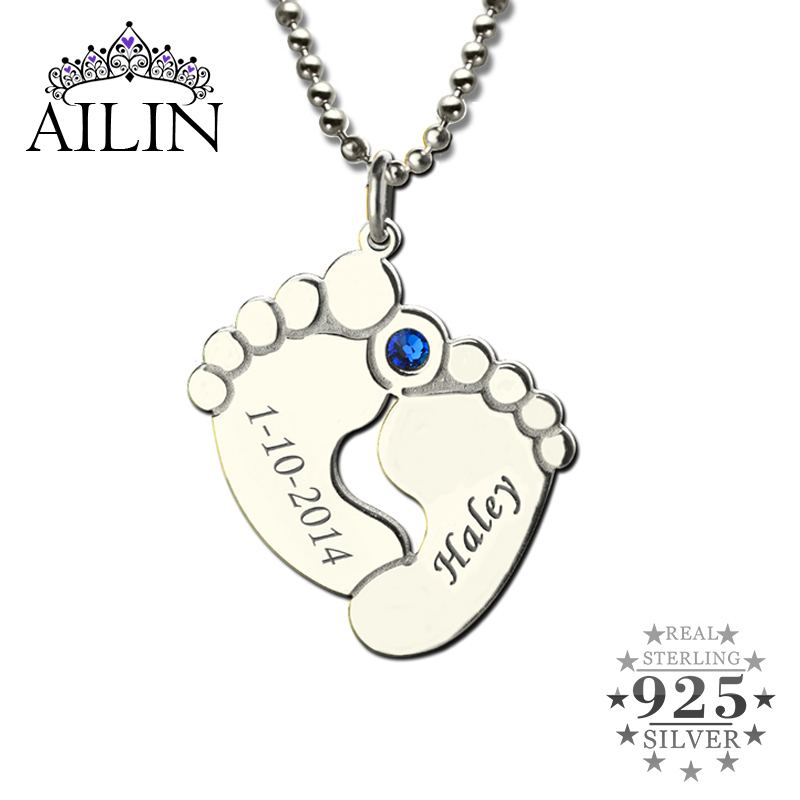 Personalized Baby Feet Birthstone Mother Necklace Name & Date Feet Charm Celebration For New Baby 925 Silver New Mom Jewelry top brand luxury quartz watch men casual black japan quartz watch stainless steel wooden face ultra thin clock male relogio new