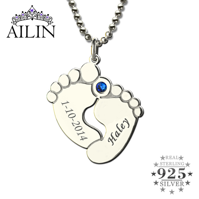 Personalized Baby Feet Birthstone Mother Necklace Name Date Charm Celebration For New 925