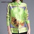 Hot Sale Winter Autumn Spring Printing Flowers  Pattern Women Long Sleeved  Elegant Green Blouse T6N4113Y