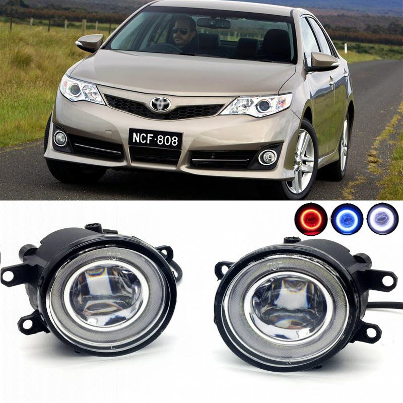 2 in 1 LED Cut-Line Lens Fog Lights Lamp 3 Colors Angel Eyes DRL Daytime Running Lights for Toyota Camry SE 2011- car styling 2 in 1 led angel eyes drl daytime running lights cut line lens fog lamp for land rover freelander lr2 2007 2014