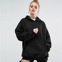 c1b1bd846 Autumn Winter Women Casual Pocket Cotton Black Pullovers Sweatshirt Ladies  Fashion Plus Size 3XL 4XL 5XL