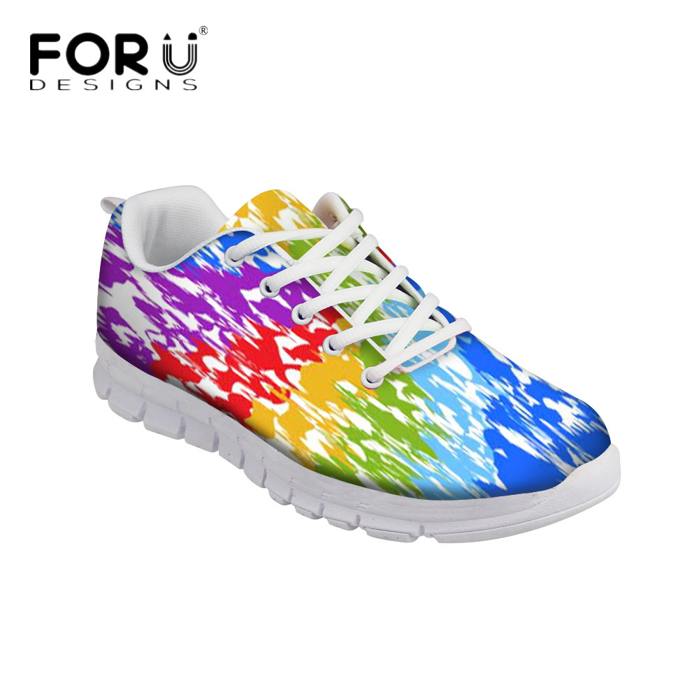 FORUDESIGNS Fashion Graffiti Design Women Casual Flats Sneaker Female Breathable Comfortable Flat Shoes for Ladies Leisure Shoes forudesigns sweet donuts pattern women autumn casual flat shoe fashion pink female breathable comfortable shoes for ladies flats