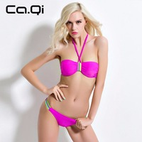 Ca.Qi Lovely Girl Push Up Bikinis Set Sexy Low Waist Women Swimwear Retro Swimsuit Bathing Suit Solid Color 2017 New Brand