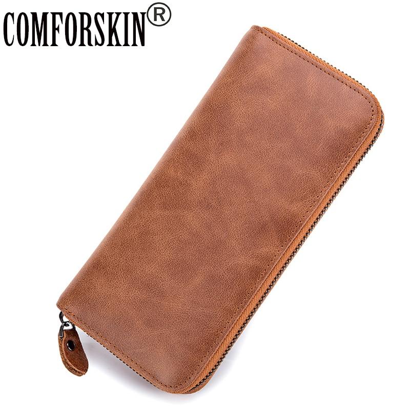 COMFORSKIN European and American Vintage Genuine Leather Women Wallets Large Capacity Practical Feminine Purse 2017 Carteras