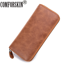 COMFORSKIN European and American Vintage Genuine Leather Women Wallets Large Capacity Practical Feminine Purse 2017 Carteras european and american simple styleluxurious genuine leather coin purse for women 4 color on sale