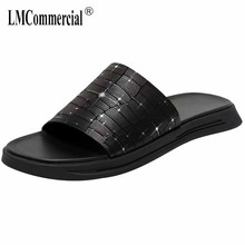 купить Summer men's Genuine Leather slippers antiskid beach sandals Sneakers Men Flip Flops casual Shoes beach outdoor anti-skid male дешево