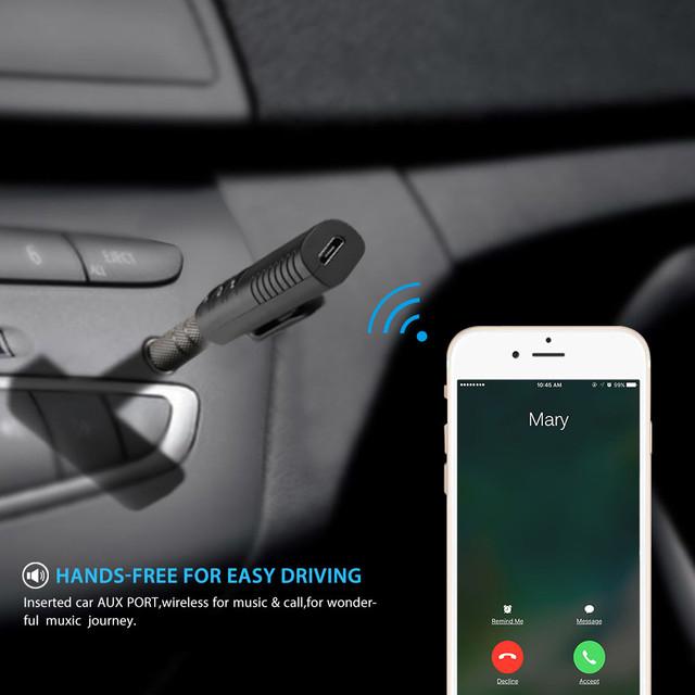 Rovtop Mini 3.5mm Jack Bluetooth Car Kit Handsfree Music Audio Receiver Adapter Auto Bluetooth AUX for Speaker Headphone Car Z2