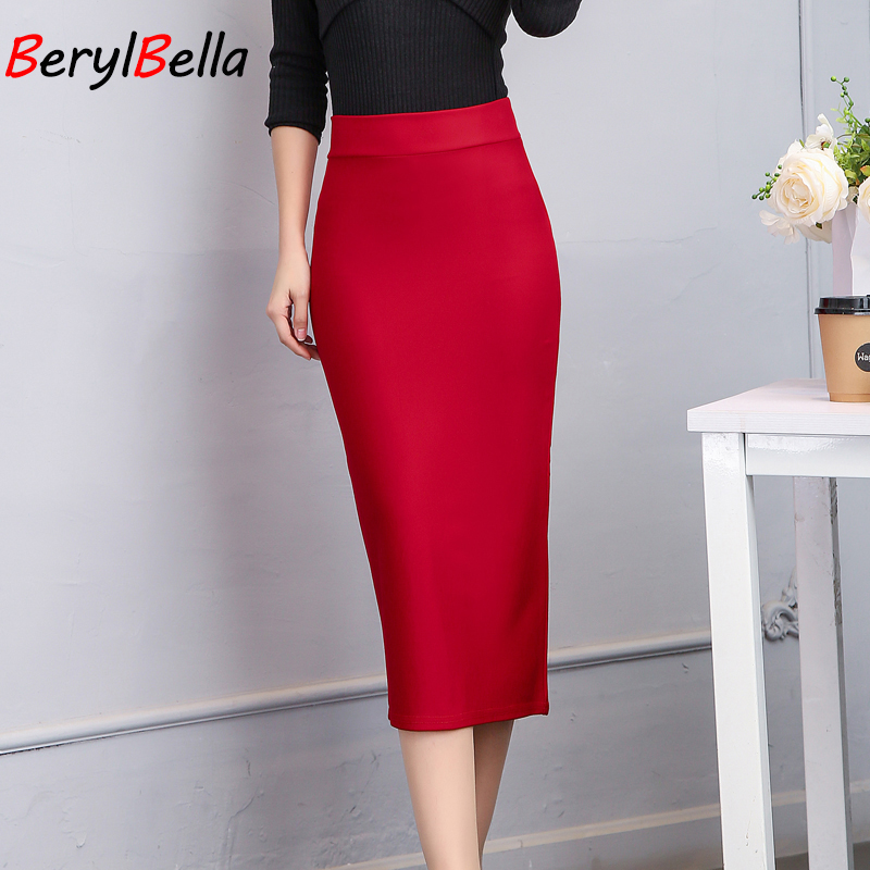 2018 Fashion Skirt Summer Middle Section Women England Style Elastic High Waist Package Hip Pencil Skirt After Split Plus Size