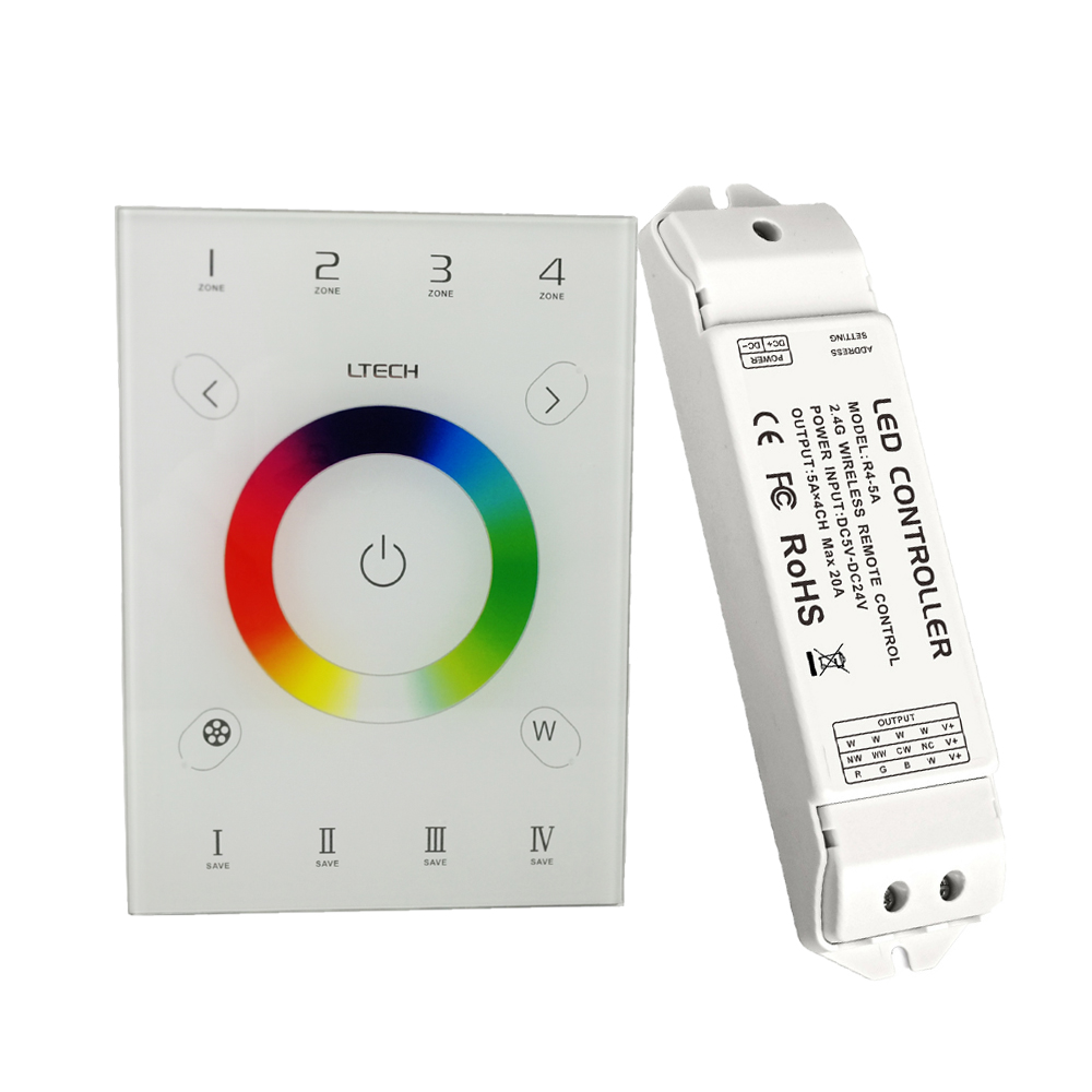 Ltech LED RGBW controller 2.4GHz RF Wireless and DMX512 AC 100V -240V touch DMX control Led RGB RGBW Strip and R4-5A ReceiverLtech LED RGBW controller 2.4GHz RF Wireless and DMX512 AC 100V -240V touch DMX control Led RGB RGBW Strip and R4-5A Receiver