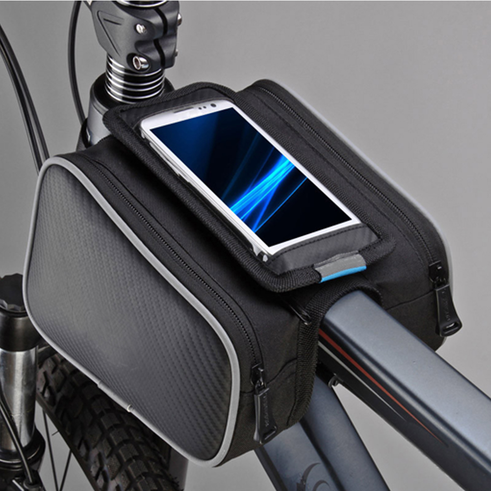 Waterproof Cycling Front Tube Frame Bag Touch Screen Pannier Bicycle Double Phone Pouch for 5/5.5in Cellphone