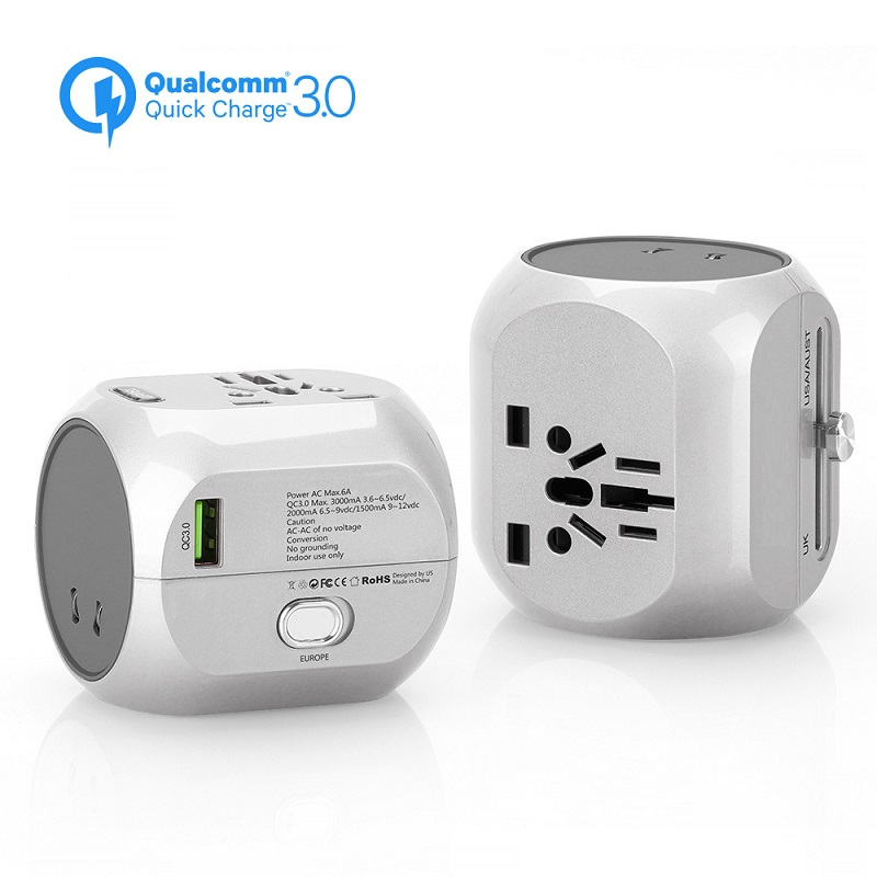 Internation Travel Adapter Portable Electric Plug Universal Travel Socket Wall QC3.0 Fast Charger Converter UK US AU EU Plug стоимость