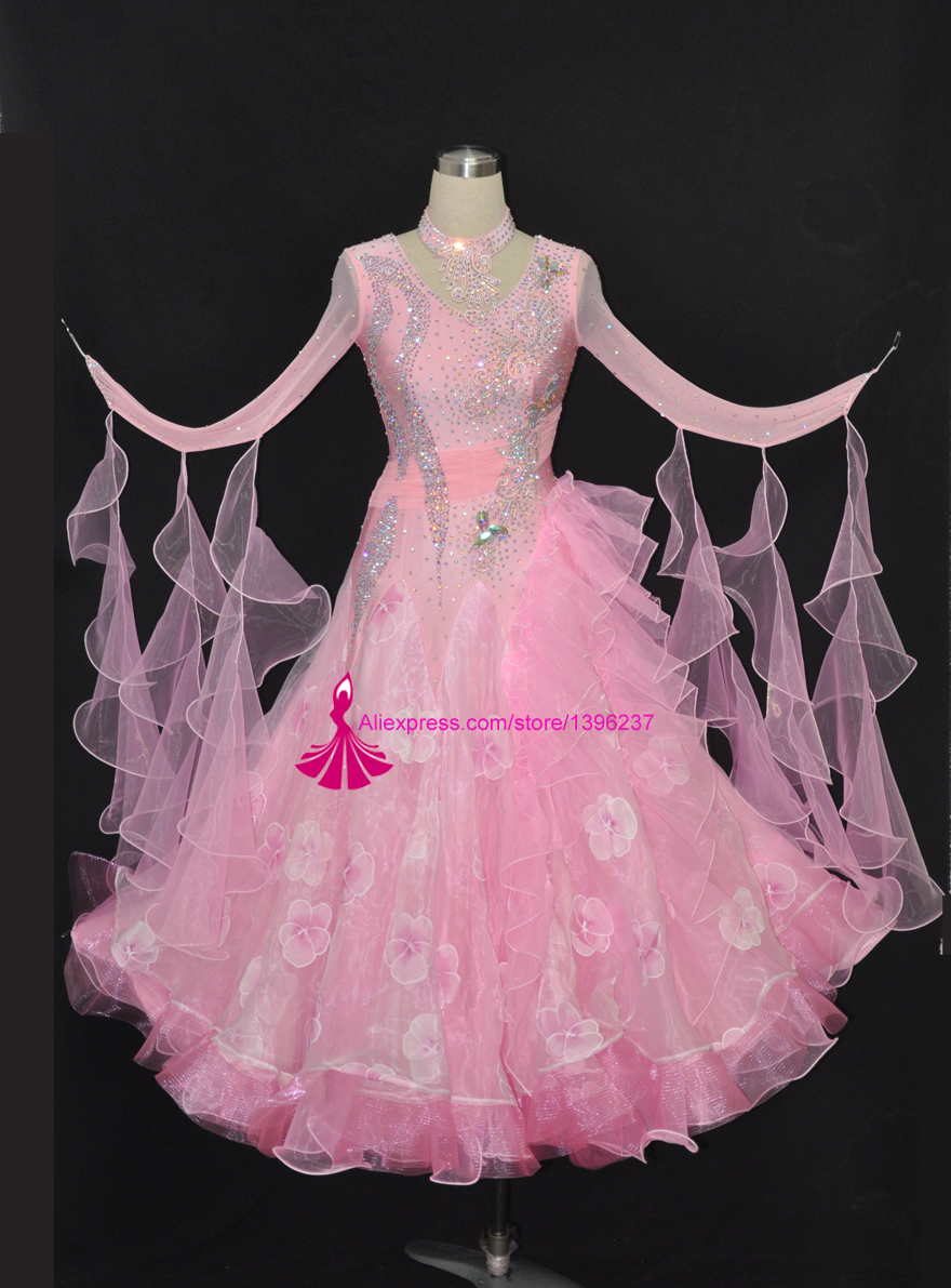 Ballroom Competition Dance Dress Adult s Customized Pink Standard Waltz Modern Dancing Costume Ballroom Dance Dresses