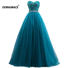 Doragrace Glamorous A Line Sweetheart Tulle Skirt Crystal Sequins Evening Gowns Prom Dresses Plus Size