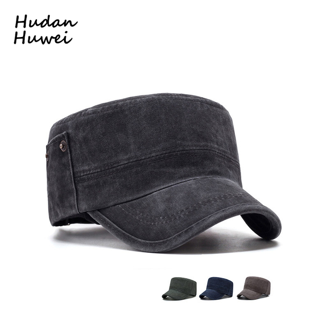 100% Cotton Distress Washed Men Women Baseball Caps Unisex Street Fashion Flat  Top Cap Army Cap Outdoor Sunhat for Unisex GH-558 2223fbab7d1a