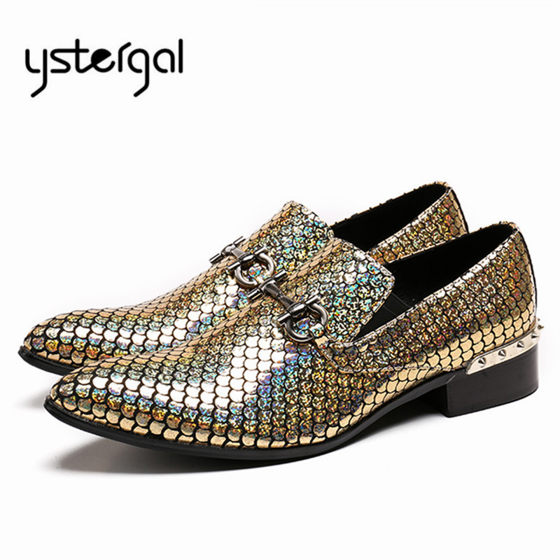 YSTERGAL Glistening Leather Men Banquet Wedding Shoes Mens Formal Dress Shoe Pointed Toe Casual Flats Oxford Shoes for Men hot sale mens italian style flat shoes genuine leather handmade men casual flats top quality oxford shoes men leather shoes