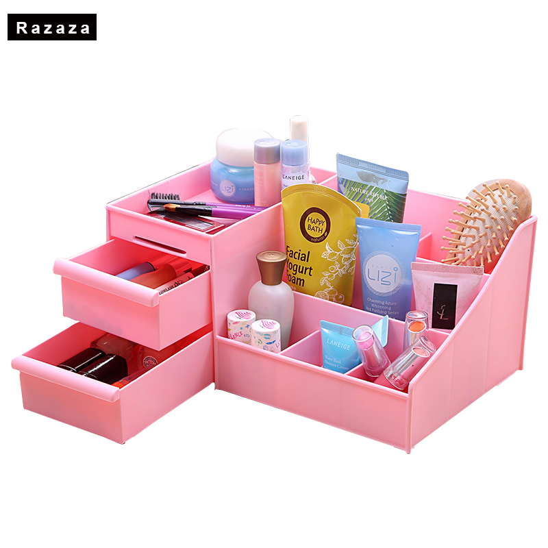 New plastic makeup organizer storage box Case multipurpose candy color office sundries Casket cosmetic Cosmetic Jewelry drawer