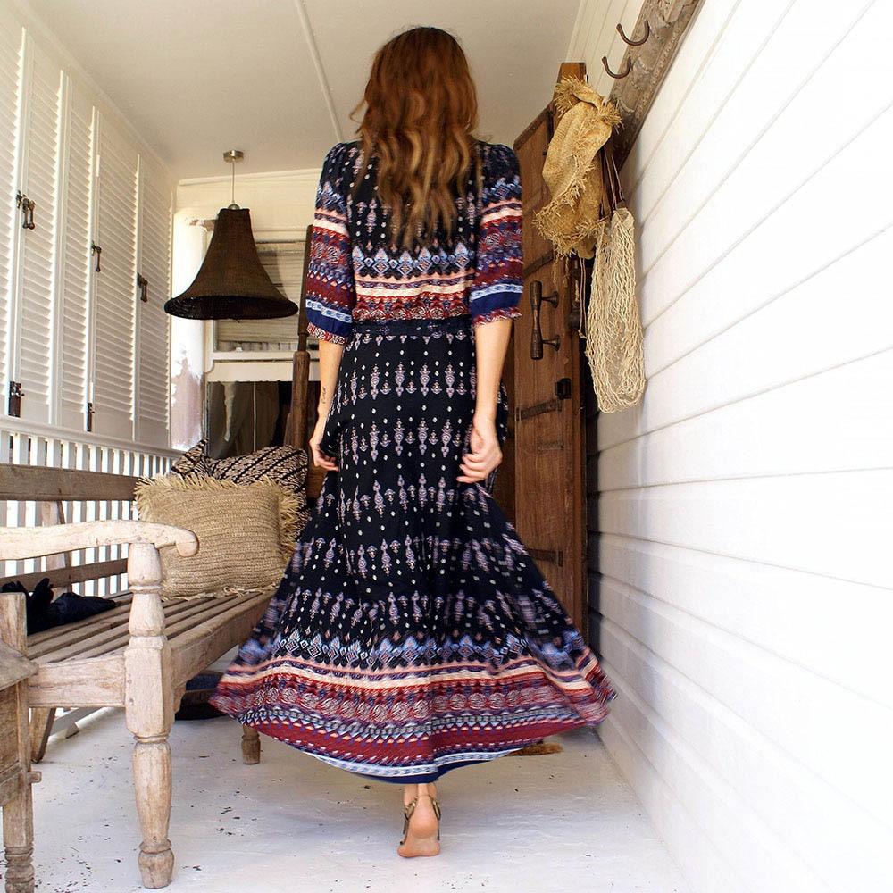 3XL Boho Etnik Yaz Uzun Maxi Elbise Kadınlar Seksi V Yaka Sundress - Bayan Giyimi - Fotoğraf 6