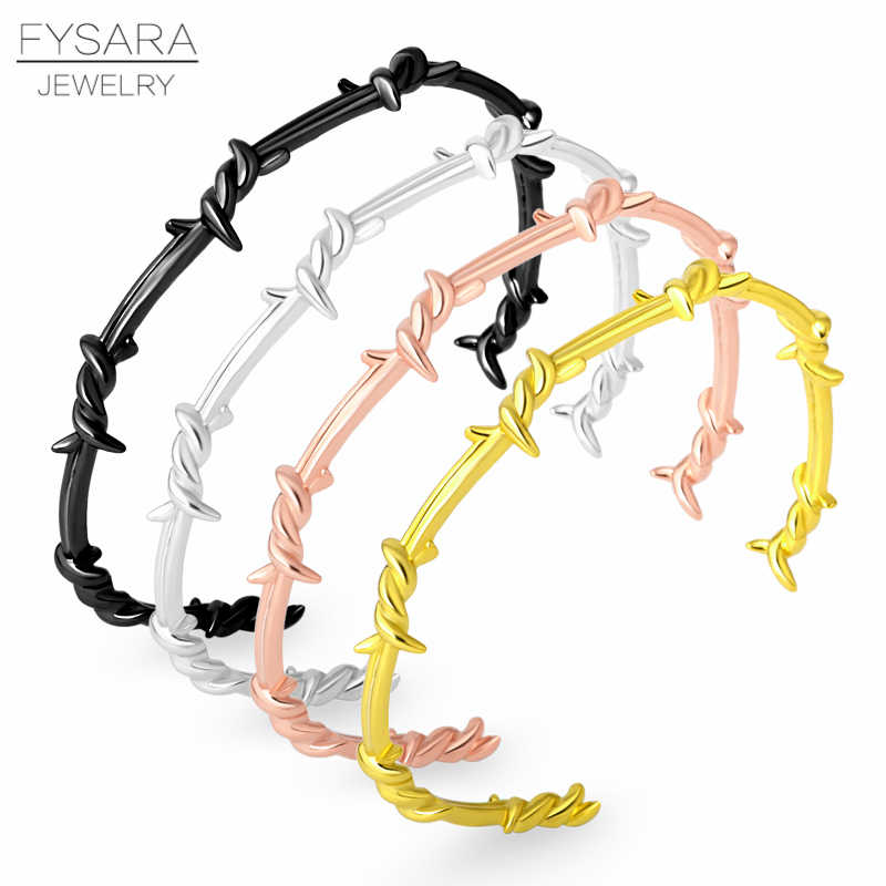 FYSARA Punk Black Open Twist Thorn Wire Cuff Bracelets Bangles For Women Men Pulsera For Couple Jewelry 16-20cm Adjustable Size