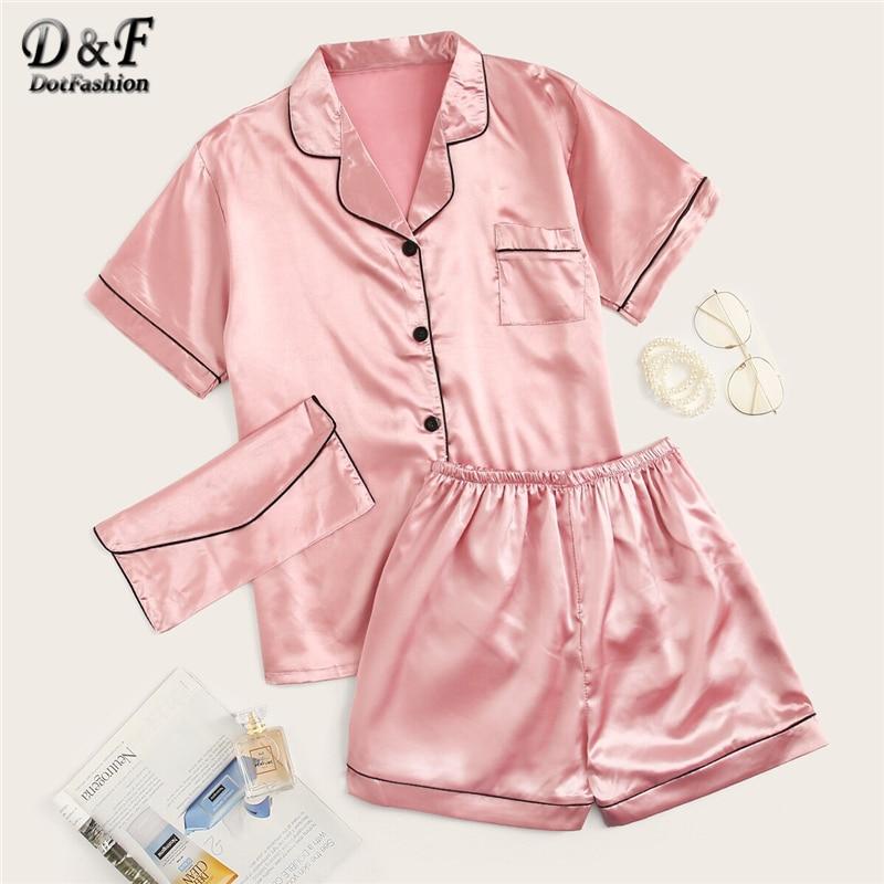 Dotfashion Pink Contrast Binding Satin   Pajama     Set   With Purse Women 2019 Summer   Pajamas   Casual Sleepwear Short Sleeve   Pajama     Sets