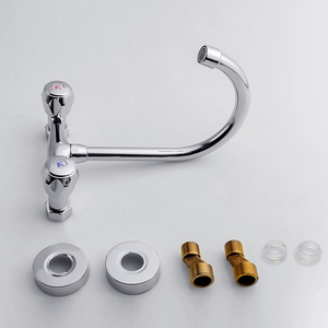 Image 5 - SHAI Wall Mounted Kitchen Faucet Wall Kitchen Mixers Kitchen Sink Tap 360 Degree Swivel Flexible Hose Double Holes