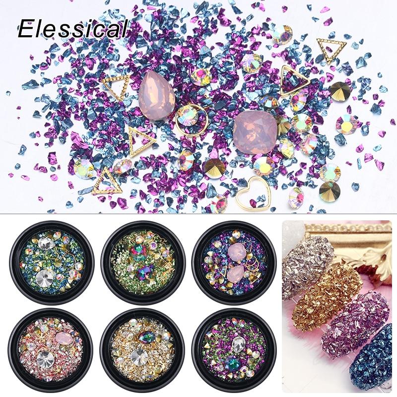 Elessical Mix Colorful Sand For Nail Decoration Opal  Rhinestones AB Nail art Design irregular Rivet  Manicure Nails Charm