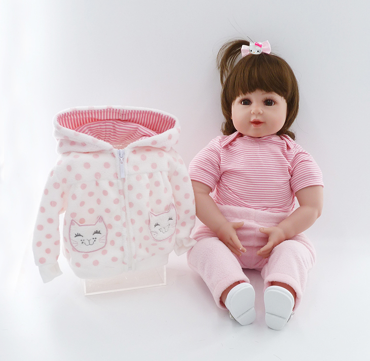 "Adorable 55cm Silicone Reborn Baby Dolls For Girls Lifelike 22"" Reborn BeBe Baby Girl with 3pcs Clothes set bonecas de silicone"