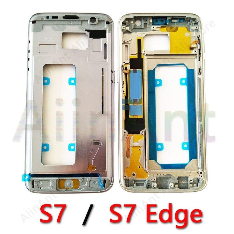 Pour Samsung Galaxy S7 Bord G930 G935 G935A G935V G935F LCD Titulaire Moyen Avant Lunette Cadre En Métal Plaque de Couverture De Logement