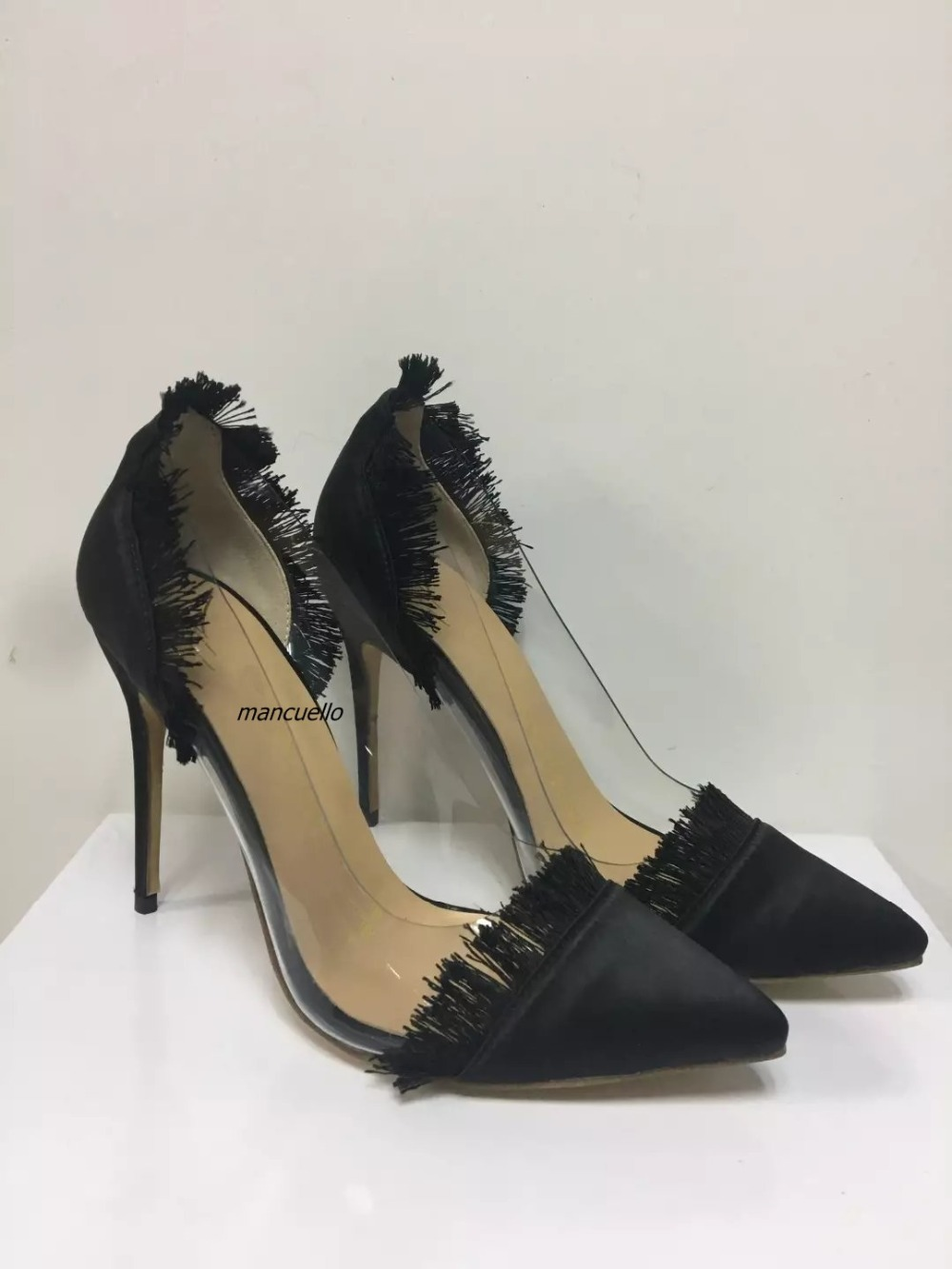 Classy Black Silk Patchwork Heels Sexy Pointy Side Clear Stiletto Heel Fringe Edge Pumps Women Fashion Dress Shoes New Arrival