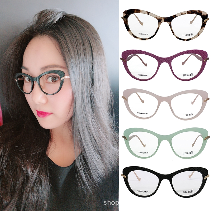 Pure Titanium Glasses Frame Women Trendy Butterfly Big Cat Eye Eyeglass Frame Female Optical Glasses Frame
