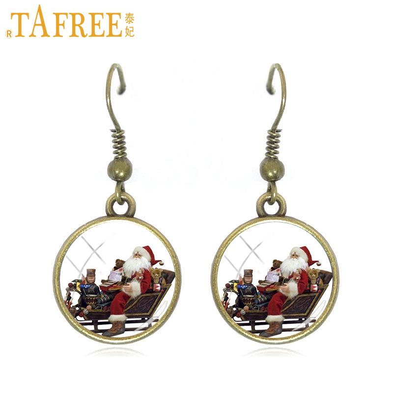 Aggressive Tafree Santas Sleigh Pendant Dangle Earrings Vintage Bronze Santa Claus Christmas Deer Art Women Drop Earrings Jewelry Gift J190 Earrings