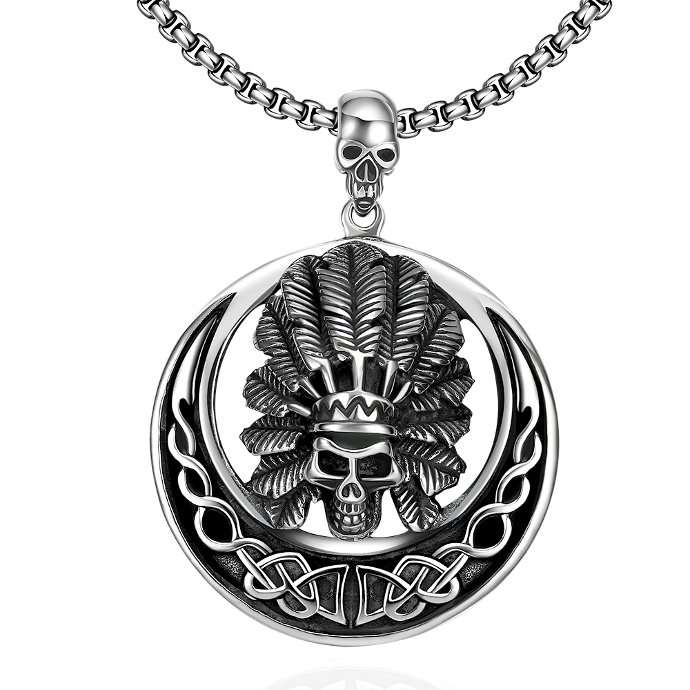 indian tribal skull feather head pendant moon necklace